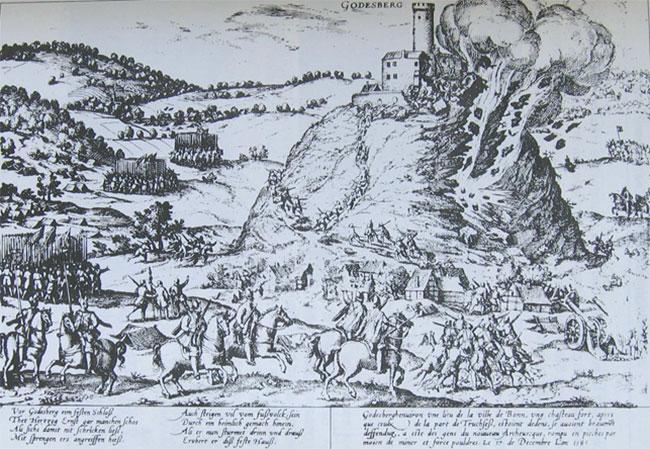 Ødelæggelsen af borgen Godesberg 1583 i den Kølniske krig (Kölnischer Krieg) 1583-88 mellem protestantiske Køln og katolske Bayern. Rantzaus krudtminer mod Müggenburg i 1534 åbnede forsvaret op; på samme vis for de angribende bayersk-spanske tropper. Billede af Franz Hogenberg (Wikipedia).