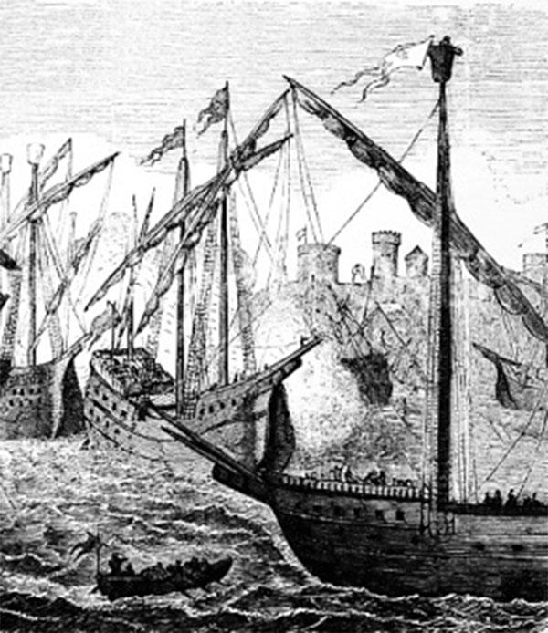 """Kniphof plagede den hanseatiske ligas skibsfart i 1520'erne, hvor Lübecks og ligaens storhed var for nedadgående. Men i storhedstiden var ligaen en stærk magtfaktor; i 1428 bombarderede ligaen to gange København, som del af den dansk-hanseatiske krig 1426-1435, blot én krig af en lang række krige mellem parterne. """"Hanseschiffe vor Kopenhagen in Dänemark 1428"""", 1870, træsnit, Wikipedia."""