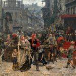 Valdemars udplyndring af Visby i 1361, Carl Gustaf Hellqvist 1851-1890 (Wikipedia). Valdemar Atterdags blodige nedslagtning af en bondehær og erobring af Gotland og Visby i 1361 udgjorde en vigtig del af Margrete I's krav på øen.