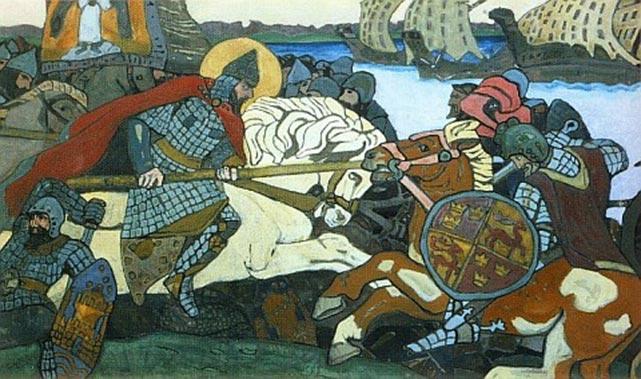 Alexander Nevsky rammer Birger Jarl, den svenske hærfører. Nicholas K. Roerich, 1904 (Wikipedia). Svenskerne ekspanderede og kristnede i Finland i 11-1200-tallet og forsøgte efter at have taget det østlige Finland, kaldet Tavastland, at trænge videre mod øst. Her stødte de på Novgorods styrker, og med nederlaget i slaget ved Neva 15. juli 1240 stoppede ekspansionen. Novgorods hærfører, Alexander, fik tilnavnet 'Nevsky' for sejren ved Neva.