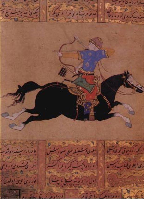 Ottomansk buskytte til hest, beslægtet med de kiptjak-tyrkiske ryttere, udfører baglæns skydning under hastig tilbagetrækning; en yndet taktik, der gjorde det svært at fange rytterne, men som alligevel påførte fjenden tab.