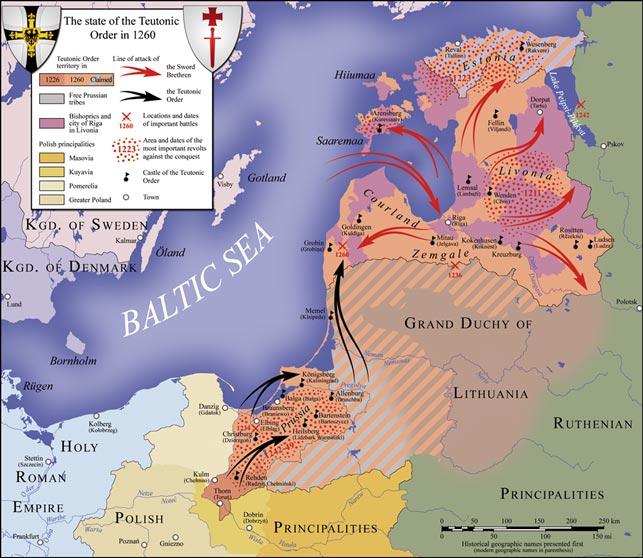 """Oversigtbillede af den militære situation i Baltikum 1226-60, og Den Tyske Ordens overtagelse af Baltikum. Regionen Vod, hvor danske vasaller på Danmarks vegne deltog i et erobrings- og kristningsfelttog, ligger i umiddelbar (østlig) forlængelse af Estland, """"svingstaten"""" Pskov, internt splittet og efterstræbt af både de vestlige korsfarere og Novgorod, ligger syd for Peipus-søen, mens Novgorod ligger umiddelbart øst for kortets kant, men på højde med Dorpat. Sværdbrødrenes undergang, der igen bragte Danmark militært og politisk på banen i Baltikum, skete ved 'Zemgale' syd for Riga (Wikipedia/S. Bollmann – Dieter Zimmerling; Der Deutsche Ritterorden, 2. udg. 1991)."""