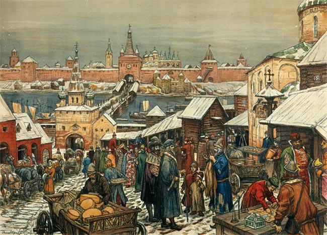 Novgorod Torg (marked), Apollonary Vasnetsov, 1909. Den russisk-ortodokse by Novgorod, af vikingerne kendt som Holmgård, kæmpede ihærdigt mod den katolske kirkes og vestlige korsridderes ekspansion i Baltikum. Novgorod støttede bl.a. oprøret mod danskerne i 1223, blot 4 år efter slaget ved Lyndanisse, hvor sagnet siger, at den danske hær sejrede, da Dannebrog faldt ned. Ambitionen om at udbrede den vestlige kristendom til hedningene i det nordlige Baltikum i 1240-1242 stødte derfor på modstand fra Novgorod.
