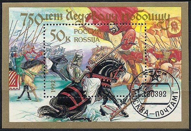 """Aleksander Nevskijs sejr har siden opnået nærmest mytisk status i Rusland. Her mindes 750-året for slaget på et frimærke fra 1992. Nevskij (1220-1263) blev helgenkåret i 1500-tallet på grund af hans kamp mod både vestlige korsfarere og mongoler fra den såkaldte Gyldne Horde. En film, """"Aleksander Nevskij"""", fra 1938, af den russiske instruktør Sergei Eisenstein, drejer sig om de tyske ridderes angreb på Pskov og slaget på isen, og generobringen af Pskov. Men også om myten om korsfarerenes totale undergang under isen."""