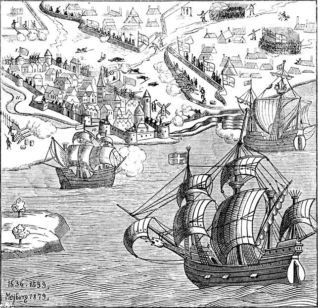 Københavns belejring 1535-36, der fulgte umiddelbart efter Johann Rantzaus sejr ved Øksnebjerg på Fyn 11. juni 1535, afsluttede konflikten. Flåden, der indesluttede København, hvor borgmester Ambrosius Bogbinder nægtede at kapitulere indtil 22. juli 1536, kom direkte fra en sejr i et slag, der også foregik i det fynske; slaget i Svendborgsund 16. juni 1535, hvor en flåde fra Lübeck blev ødelagt. Billede fra 1879, baseret på kobberstik fra 1599 (Wikipedia).