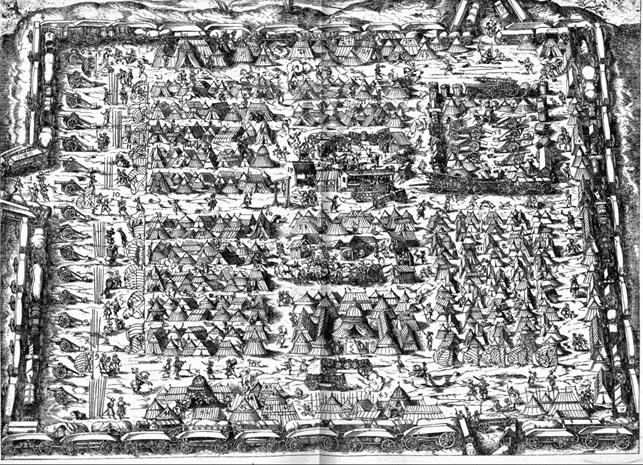 Slaget ved Øksnebjerg 11. juni endte med hårde kampe ved hertugen af Hoyas vognborg, hvor hans hær havde søgt tilflugt efter et fejlslagent angreb. I slagets begyndelse havde veltilrettelagt ild fra Rantzaus kanoner drevet dem ud af vognborgen, hvor de var nemme at ramme. Billede af vognborg fra 1500-tallet. Brugen af vognborge fik en opblomstring i Europa i 1400-tallet med Hussitterkrigene i 1400-tallets Tjekkiet/Böhmen.
