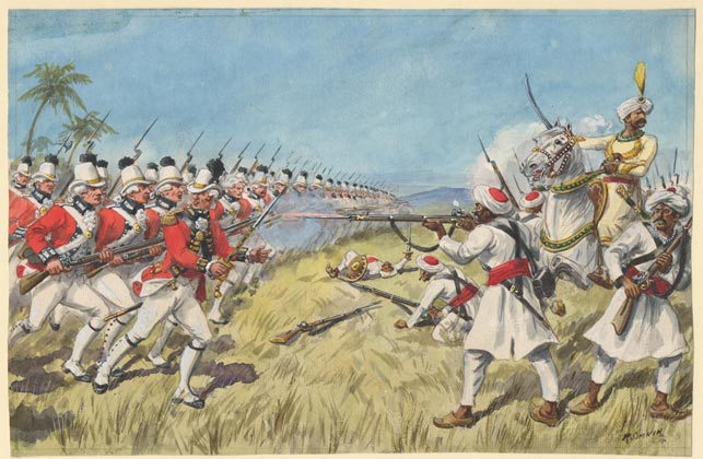 """Soldater fra det europæiske regiment tilhørende Britisk Østindisk Kompagni rykker frem mod soldater fra Mysore i den 2. Anglo-Mysore krig 1783. Indiske fyrster, briter og franskmænd krigedes om territorier og handelsrettigheder på den indiske østkyst i midten af 1700-tallet. Allianceskift var hyppige i kampen om at komme bedst ud af stridighederne. Billede af Richard Simkin, 1890, """"Siege of Cuddalore"""" (Wikipedia)."""