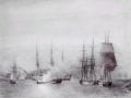 Billedet forstiller ødelæggelsen af Fregatten Najaden ved den norske havn Arendal, d. 6. juli 1812, under Englandskrigene.  Najaden var blevet bygget efter det britiske ran af flåden i 1807 og var i februar 1812 afgået for at tilslutte sig eskadren i Norge. I en dristig aktion blev Najaden og 3 andre danske skibe angrebet af det britiske Orlogsskib Dictator (64 kanoner) og 3 andre britiske skibe. Efter en kort kamp blev Najaden fuldstændig ødelagt og omkring 200 mand af mandskabet dræbt eller sårede.  I bagrunden ses det britiske Orlogsskib Dictator (64 kanoner).