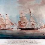 HMS Black Joke fra West Africa Squadron skyder mod slaveskibet El Almirante (af N M Condy/Wikipedia)