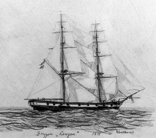 The Lougen in 1814 (drawing: Orlogsmuseets collection)