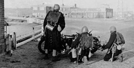 Danske soldater i stilling ved Aabenraa, kort tid før tyskerne ankomst