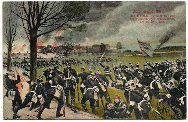 Preusserne angreb mod brohovedet på Dybbølsiden. (Fra et tysk postkort).
