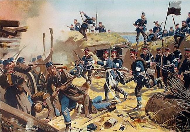 Fra en gammel tysk illustration. 3. og 4. Garderegiment erobrer skanse 1.