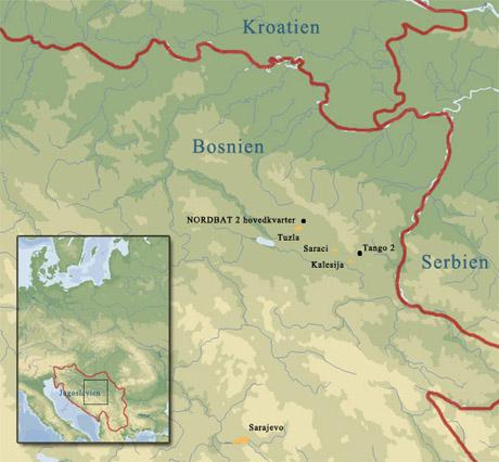 Kort over Eks-jugoslavien og Bosnien