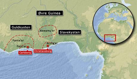 Kort over området ved Guinea (grafik Gert Laursen)