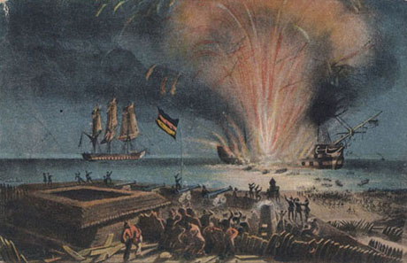 Christian VIII. sprænger i luften. Fra et Schlesvig-holstensk postkort (Marco Moschet)