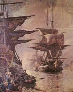 Englænderne afsejler med den danske flåde den 21. oktober 1807