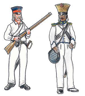 Danske kolonisoldater. Til venstre en løjtnant og til højre en artillerisergent. De fleste af de danske garnisons tropper på Guinea var mulatter, mennesker af blandet afrikansk-europæisk oprindelse. (tegninger af Jan Schlüermann).