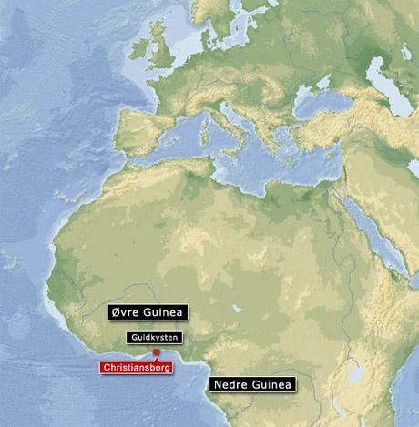 Kort over Guinea kysten (grafik Gert Laursen)