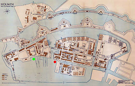 Kort over Holmen, 1941. Den grønne prik symboliserer HEKLAs position mens den røde er Flydedok nr. 2 og HAVFRUEN.