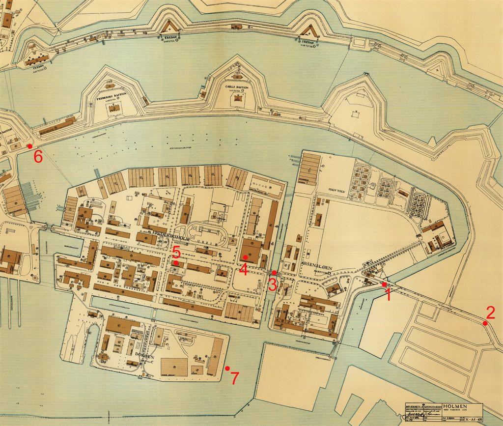 1: Værftsbrovagten, 2: Hjørnet af Prinsessegade, hvor tyskerne blev observeret, 3: Frederiksholmbroen, 4: Hangaren, hvori de danske fly var opmagasineret, 5: Modelkammeret, 6: Kongebrovagten, 7: Bevogtningsfartøjet NORDKAPERENS position.