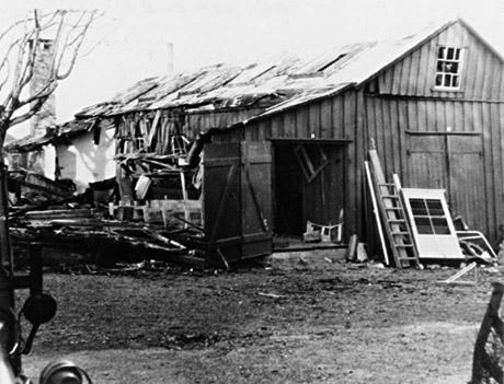 Værkstedet efter eksplosionen (foto: Orlogsmuseets samling)
