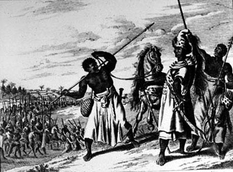 Kongen af Benin med soldater