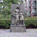 The memorial in front of the Jeanne D'arc School for the killed civilians (photo: Peter Jensen)