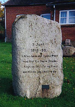 Mindesten opstillet i Nørre Snede til minde om affæren