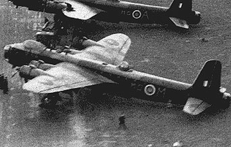 """The Stirling bomber """"M"""" for mother, that was shot down over Denmark on the night of April 21."""