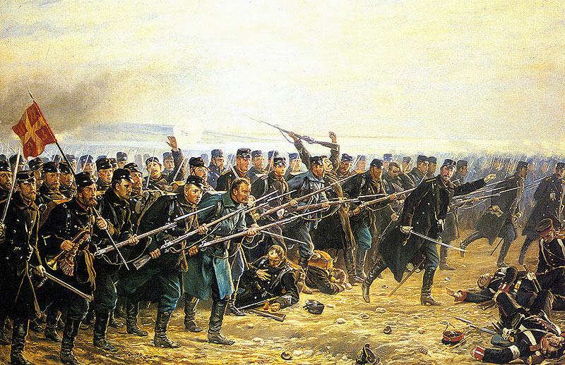 Ottende Brigades modangreb ved Dybbøl (maleri af Vilhelm Rosenstand)