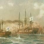 Fregatten Sjælland i kamp med hjuldamperen Loreley og korvetten Nymphe (maleri af Alex Kircher)