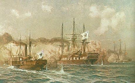 Fregatten Sjælland i kamp med hjuldamperen Loreley og korvetten Nymphe i Krigen i 1864