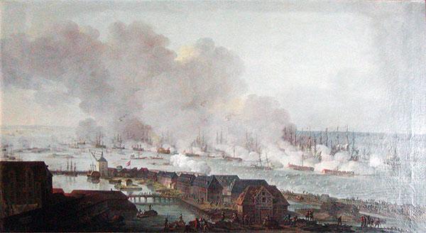 Slaget på Reden set fra København (maleri af C.A. Lorentzen)