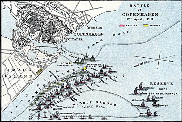 Kort over Slaget på Rheden 1801