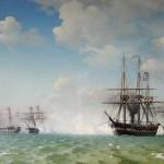 Slaget ved Helgoland 9. maj 1864. (maleri af Carl Dahl. Fra Wikipedia).