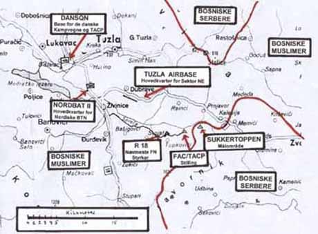 Kort over de vigtigste lokaliteter med betydning for Sugar Bowl I og II. Sukkertoppen og TACP'ens position ses i midten af kortet.