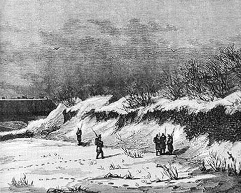 Vagtposter ved Dannevirke under Krigen i 1864