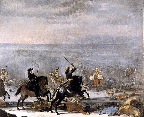 Slaget ved Lund 1676 (Wikipedia - maleri af Johan Phillip Lembke)