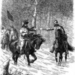 Svend Poulsen Gønge (th.) narrer oberst Sparre i baghold ved at udgive sig for ordonnans i svensk tjeneste
