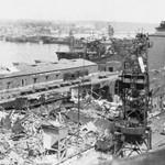 Resterne af Mammen og Dreschers bygning på havnen (Foto: Århus Kommunes Biblioteker, Lokalhist. Samling)