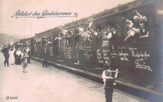 """""""Abfahrt des Landsturmes"""". (fra et tysk postkort)"""