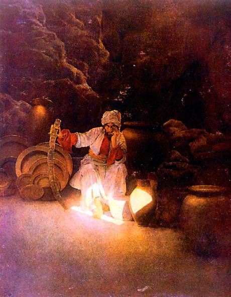 Historien 1001-nats eventyr, med figurer som Ali Baba (billedet), Sinbad Søfareren og Aladdin stammer fra 900-tallets Abbaside-rige (Wikipedia).