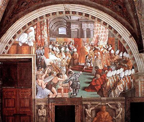 Karl den Stores kroning i Aachen i år 800. Maleri af Raphael (Wikipedia)