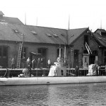 Undervandsbåden Dykkeren fotograferet i Søminegraven på Holmen før Første Verdenskrig. (Orlogsmuseet).
