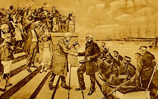 Suenson og den danske eskadres hjemkost til København (Fra gammelt postkort. Maleri af C. Henningsen).