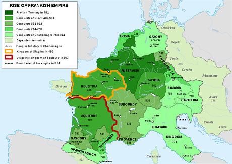 Kort over det frankiske rige (fra Wikipedia)