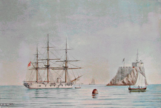 The Cruiser FYEN (painting by Hans Peter Holm)