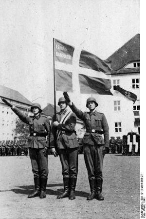 Danskere i Frikorps Danmark afgiver loyalitets erklæring overfor Tyskland (Bundesarchiv)