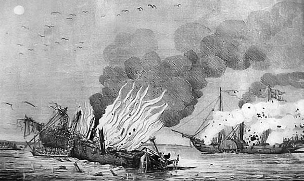 Den brændende damper v. d. Tann i forgrunden, og Hekla i baggrunden.
